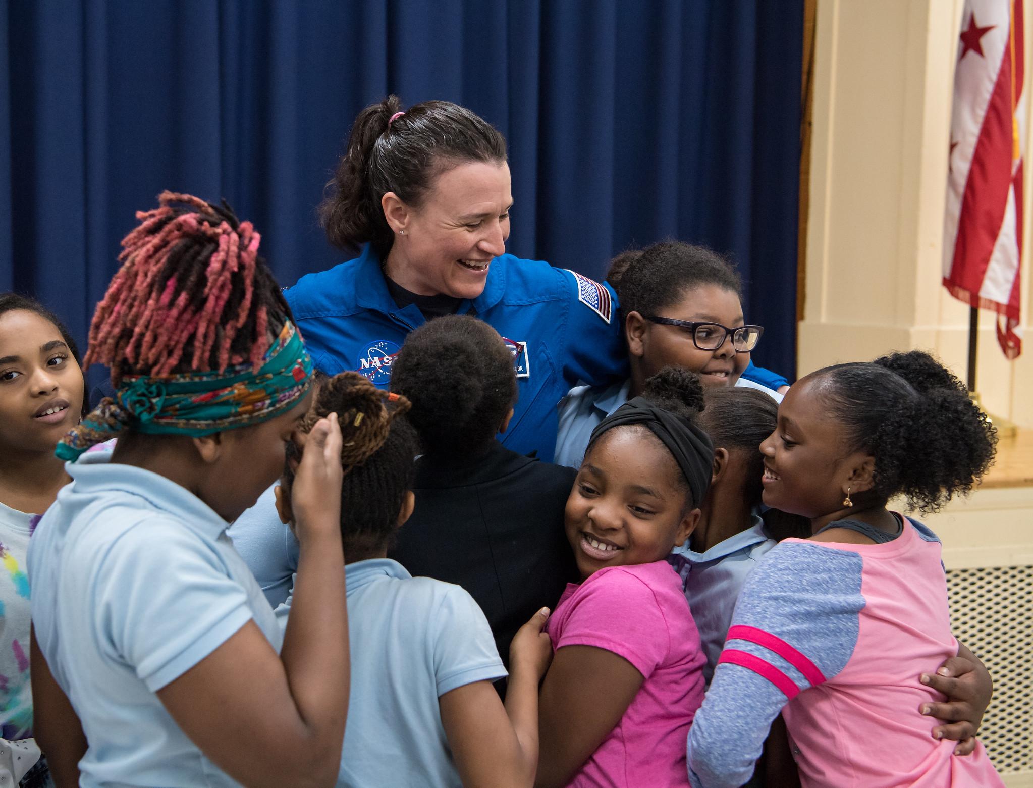 Astronaut Serena Auñón-Chancellor at Excel Academy In Washington, D.C.